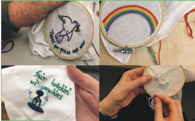 embroidering handkies